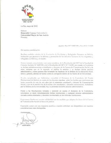 pronunciamiento de residentes peruanos