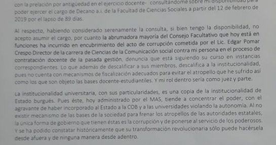 CARTA DE JAIME VILELA AL CONSEJO FACULTATIVO PRO MASISTA DE SOCIALES DE LA UMSA