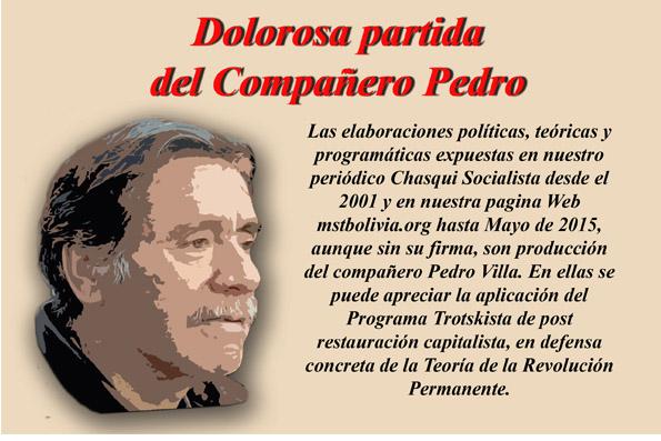 PEDRO VILLA, DIRIGENTE INTERNACIONAL DEL TROTSKISMO PARTIÓ PARA SIEMPRE
