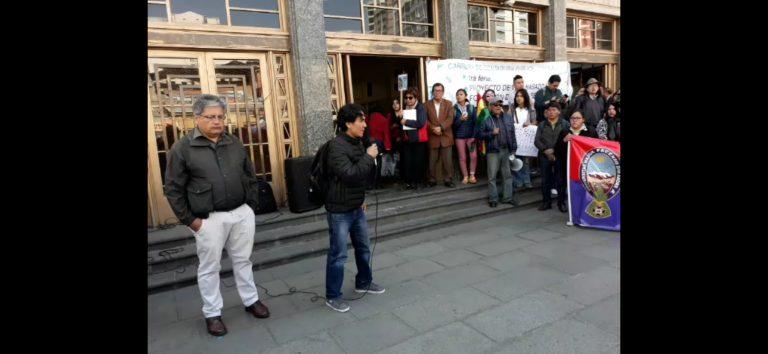 MST JS PRESENTE EN MITÍN Y MARCHA DE PROTESTA POR LA CHIQUITANÍA EN LA PAZ