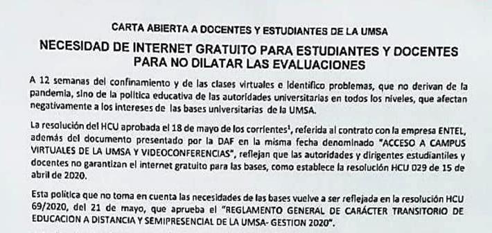 Asamblea de Curso y Carta Abierta por Internet Gratuito