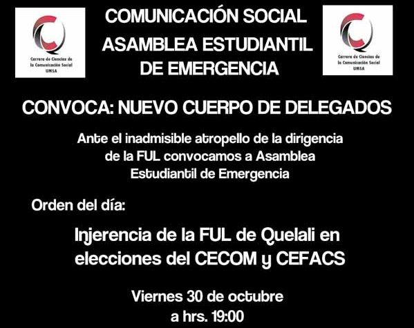 Cuerpo de Delegados de Comunicación convoca a Asamblea ante arbitrariedades de la FUL de Quelali